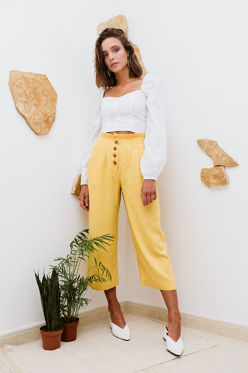 Yellow Pleated Easy Trousers