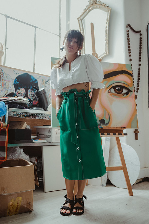 Emerald Green Midi Skirt with Pockets and Waist Band