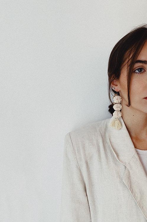 Cream Tulle Drop Earrings