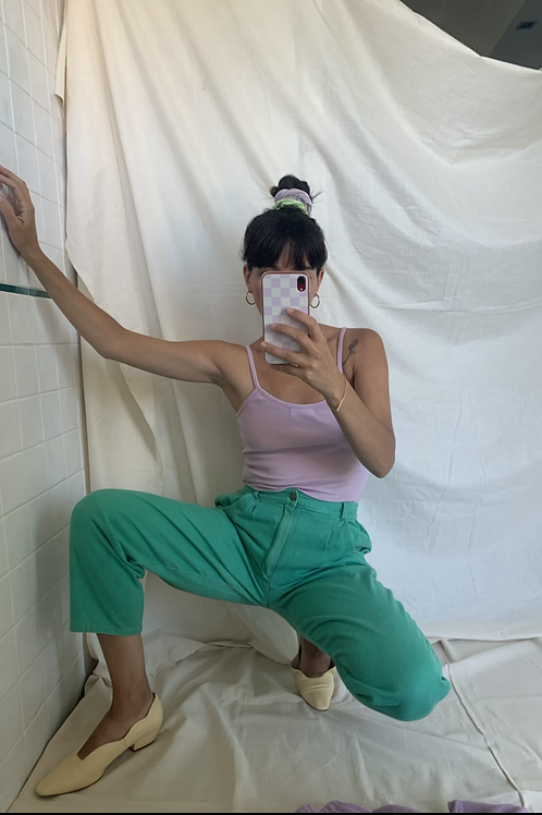 [COPY] Vintage Green High Waisted Jeans