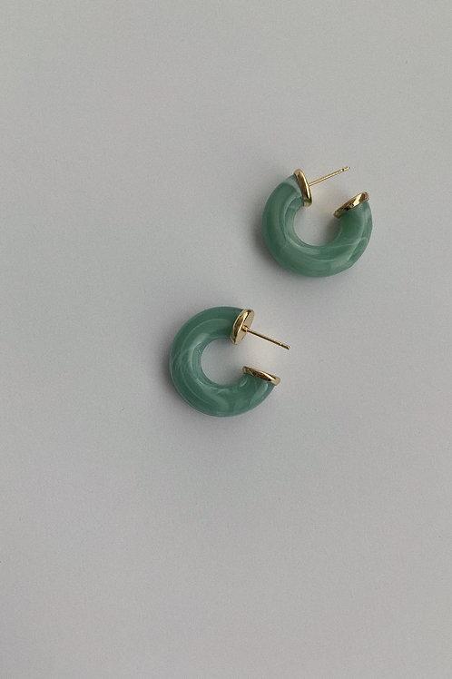 Marble Effect Resin Hoop Earrings In Green