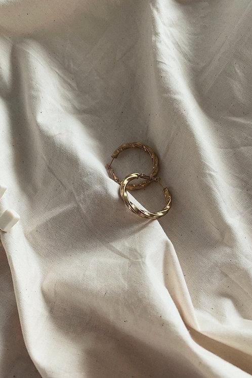 Steel Loop Earrings in Gold