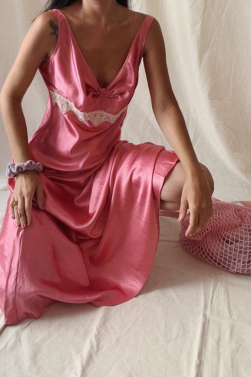 Vintage 90´S Y2K 00´S Satin Slip Pink Dress