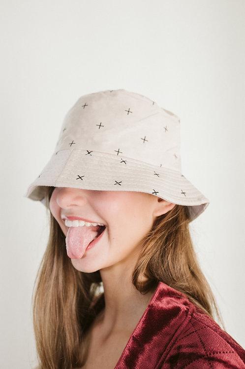 Beige Bucket Hat With Little Crosses Print