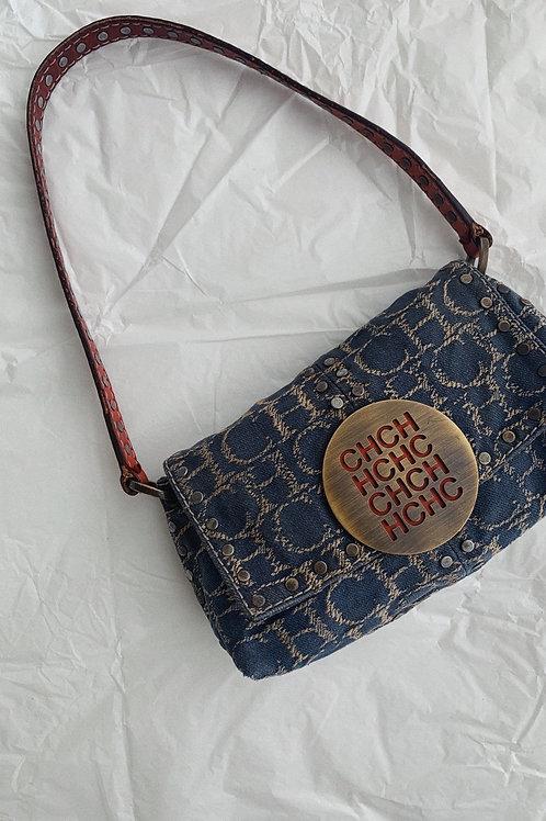 Carolina Herrera Monogram Baguette Bag In Blue Denim