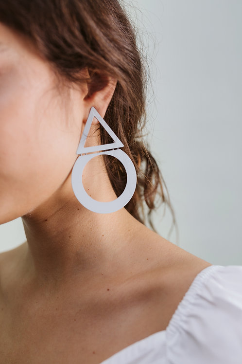 Grey Geometric Drop Earrings