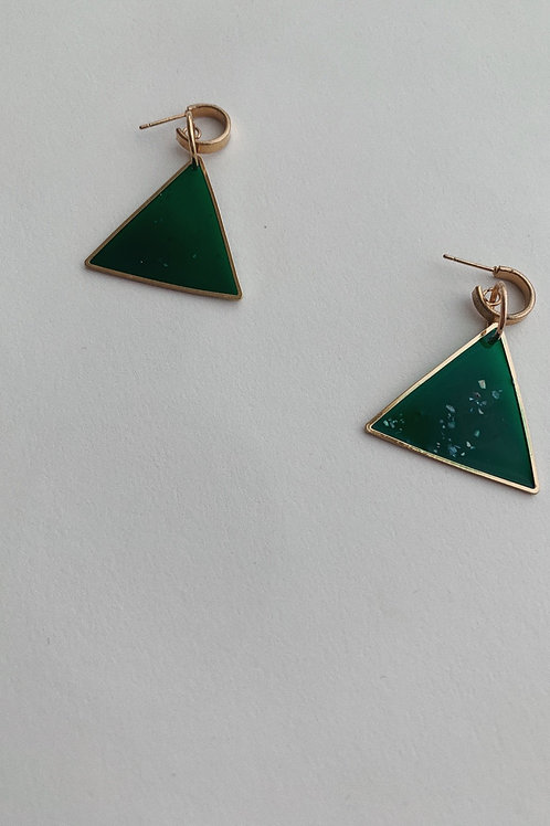 Triangle Earrings in Green and Gold