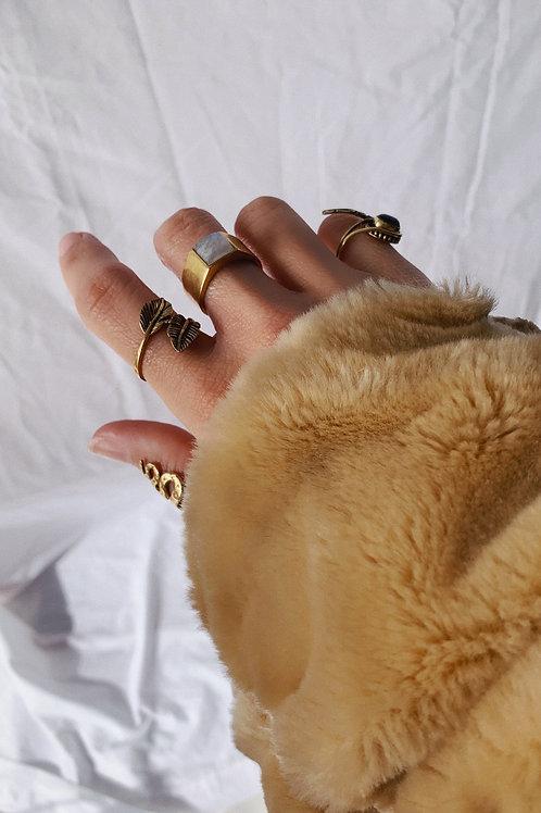 White Stone Gold Ring