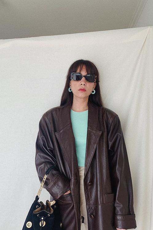Vintage Leather Jacket In Brown 90s M