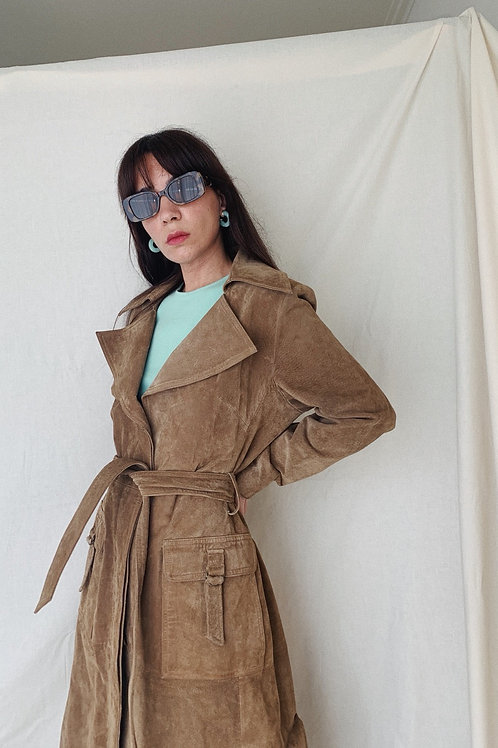 Vintage Leather Trench Coat In Brown