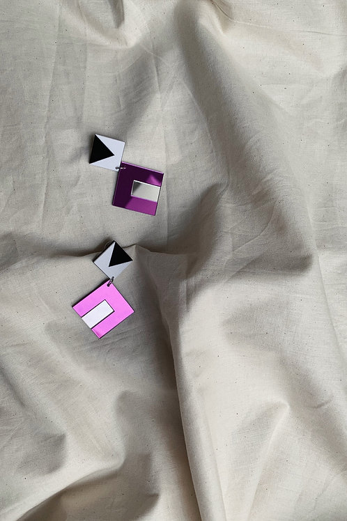 Square Block Colour Earrings