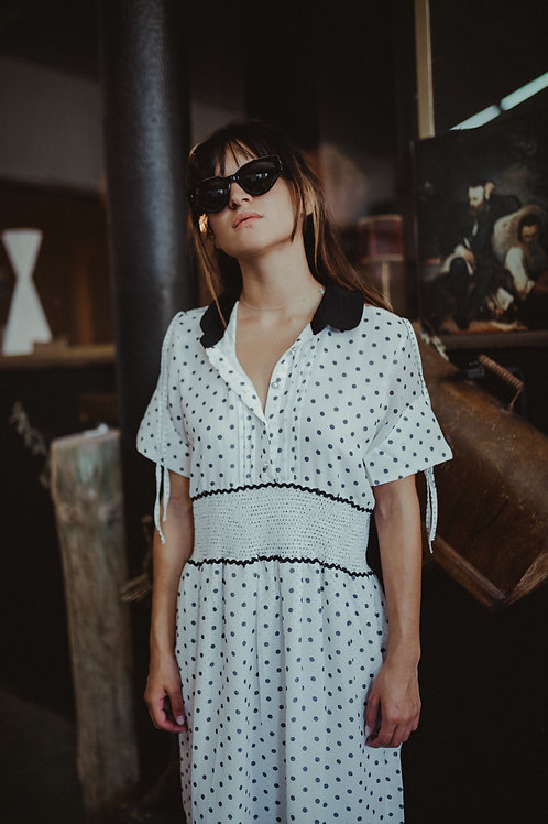Black and White Polka Dot Dress with Black Collar