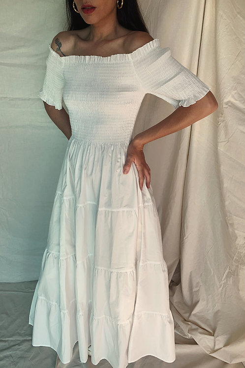 Maxi White Off the Shoulder Cotton Dress