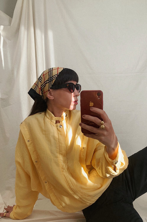 Vintage 80s 90s Yellow Tracksuit Shell Jacket