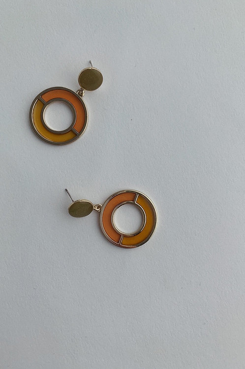 Resin And Metal Earrings In Orange