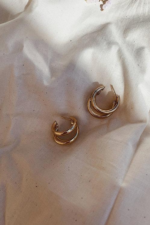 3 Loop Gold Earrings