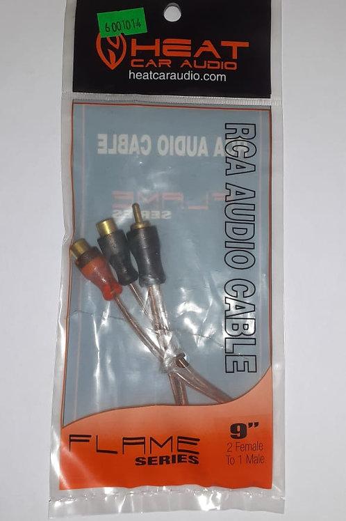 CABLE TRANSPARENTE DE 9 PLGS. DE 1 PLUG RCA A 2 JACK RCA FLAME SERIES