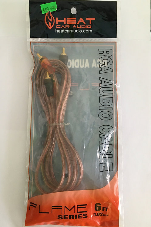 CABLE EXTENSION TRANSPARENTE DE 2 PLUG RCA A 2 PLUG RCA 6 PIES FLAME SERIES