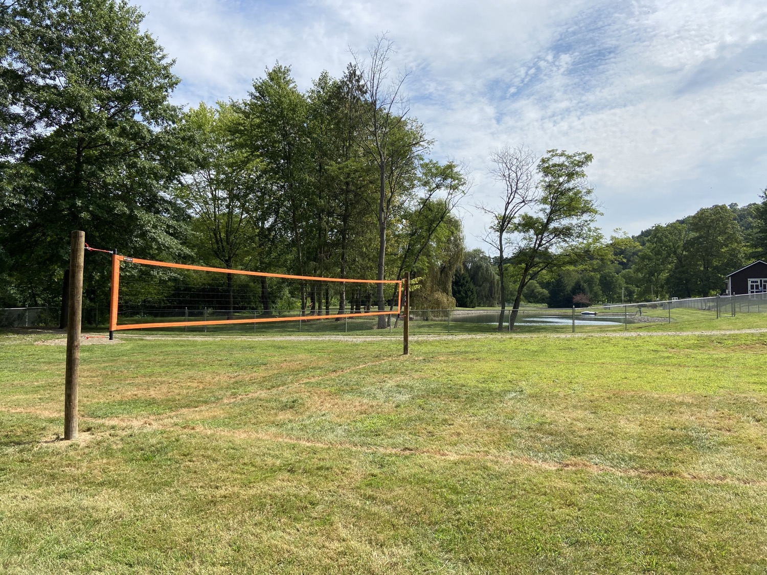 Grass volleyball court w/ net