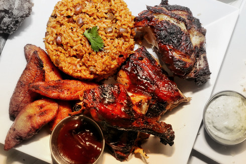 Roasted Chicken with rice & beans and plantains