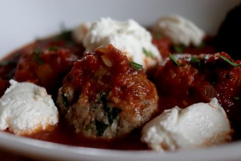 Meatballs and mozzarella cheese