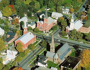 Four churches stand on the corners of Routes 21 and 31 in Palmyra NY