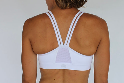 PURE ESSENCE WHITE SPORTS BRA