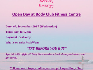 CalenActive Open Day on 06/Sept            in Body Club Fitness Centre          Margaret River