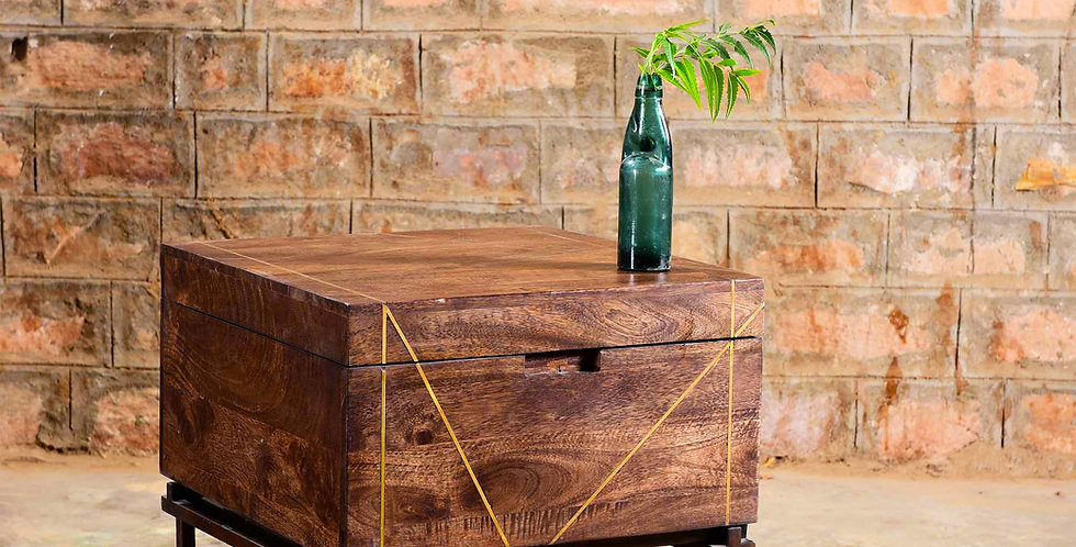 Wood Box Table On Iron Stand