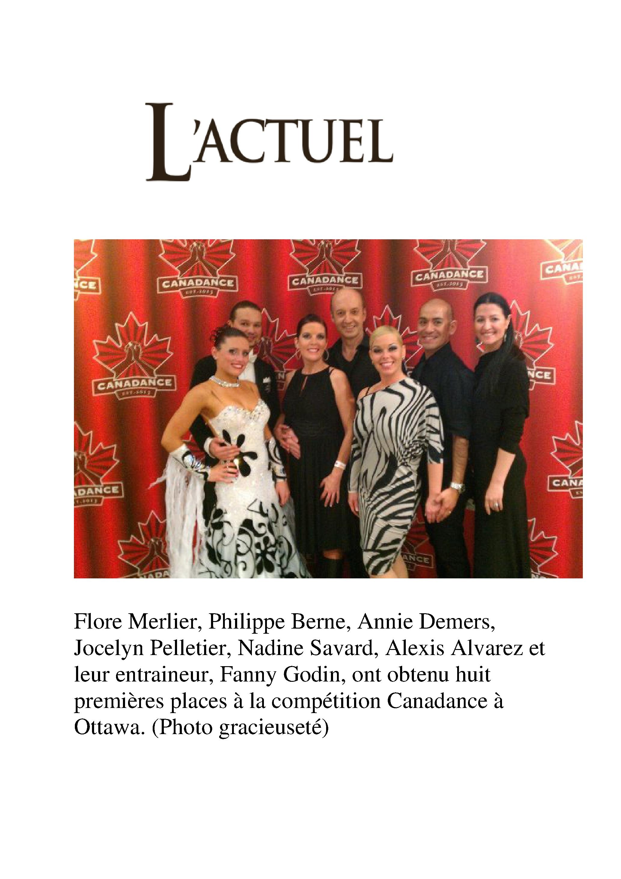 Article dans l'Actuel (Québec)