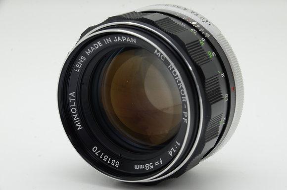 MINOLTA MCロッコール PF 58mm F1.4 ID 2b0740130