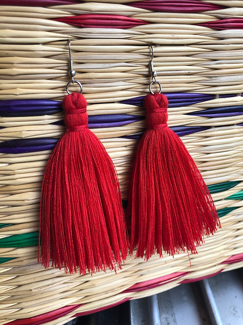Red Yarn Single Layer Earrings: Handmade by a Rohingya Artisan