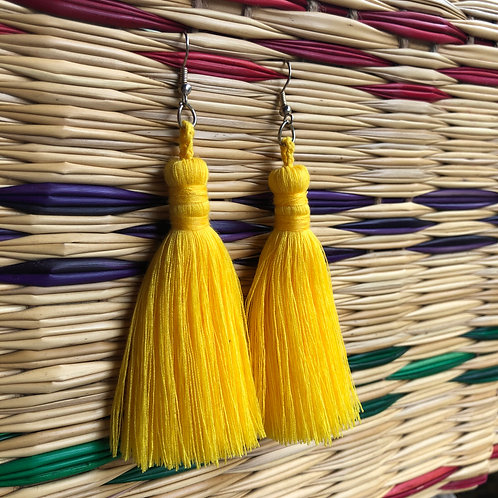 Yellow Yarn Single Layer Earrings: Handmade by a Rohingya Artisan