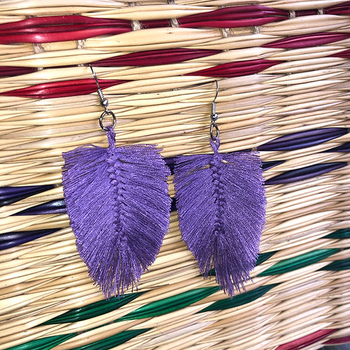 Lavender Leaf Shape Yarn Earrings: Handmade by a Rohingya Artisan