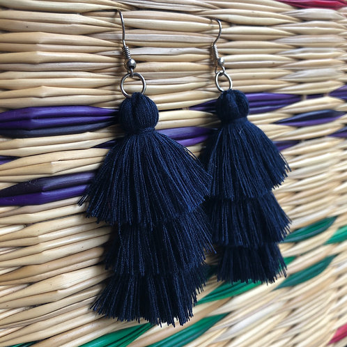 Navy Three Layered Earrings: Handmade by a Rohingya Artisan