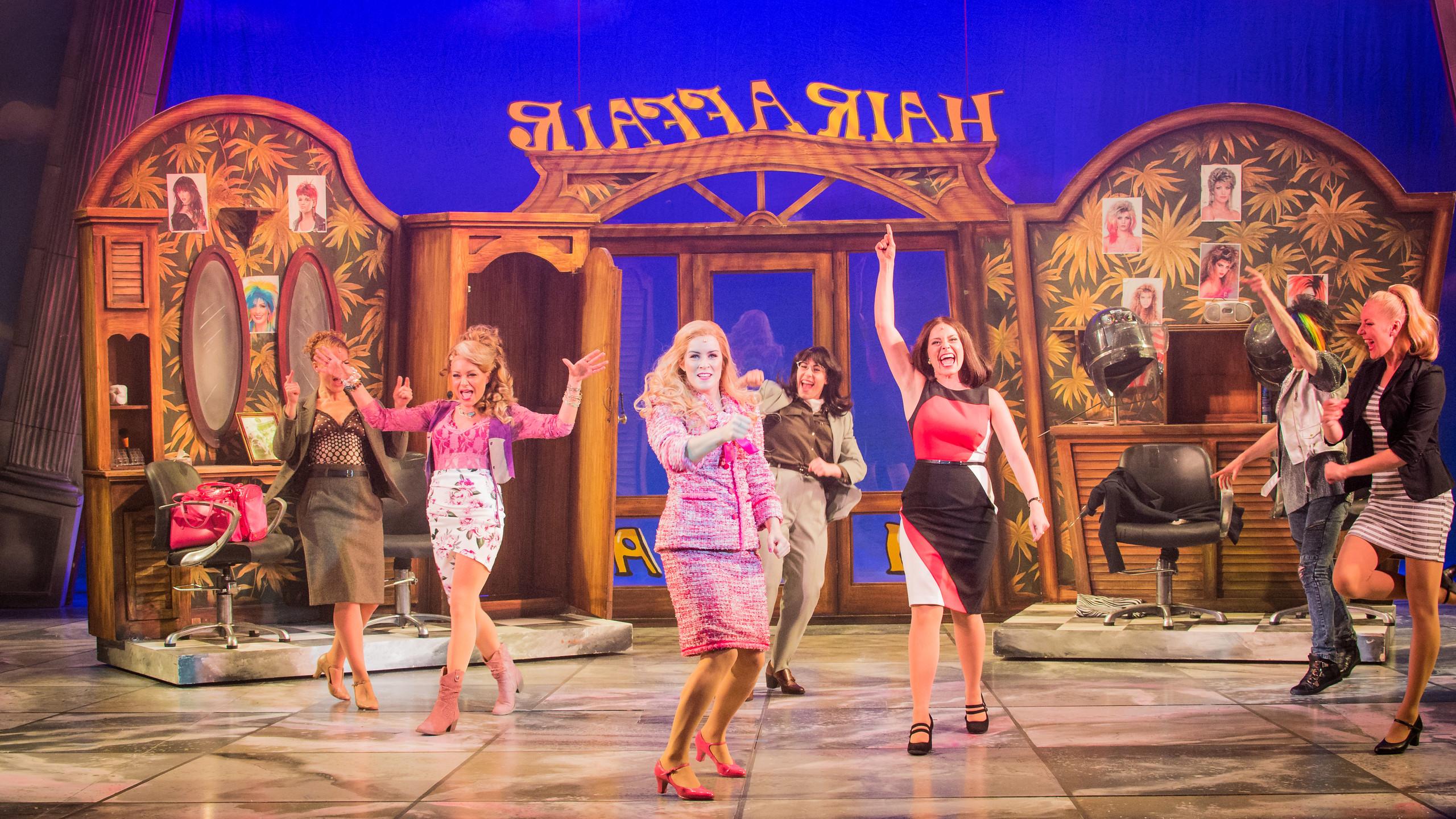 Legally Blonde The Musical 2017-18 Hair Affair 3 Rita Simons 2nd left (Paulette) Lucie Jones centre (Elle) Laura Harrison 3rd from right (Vivienne)(1)