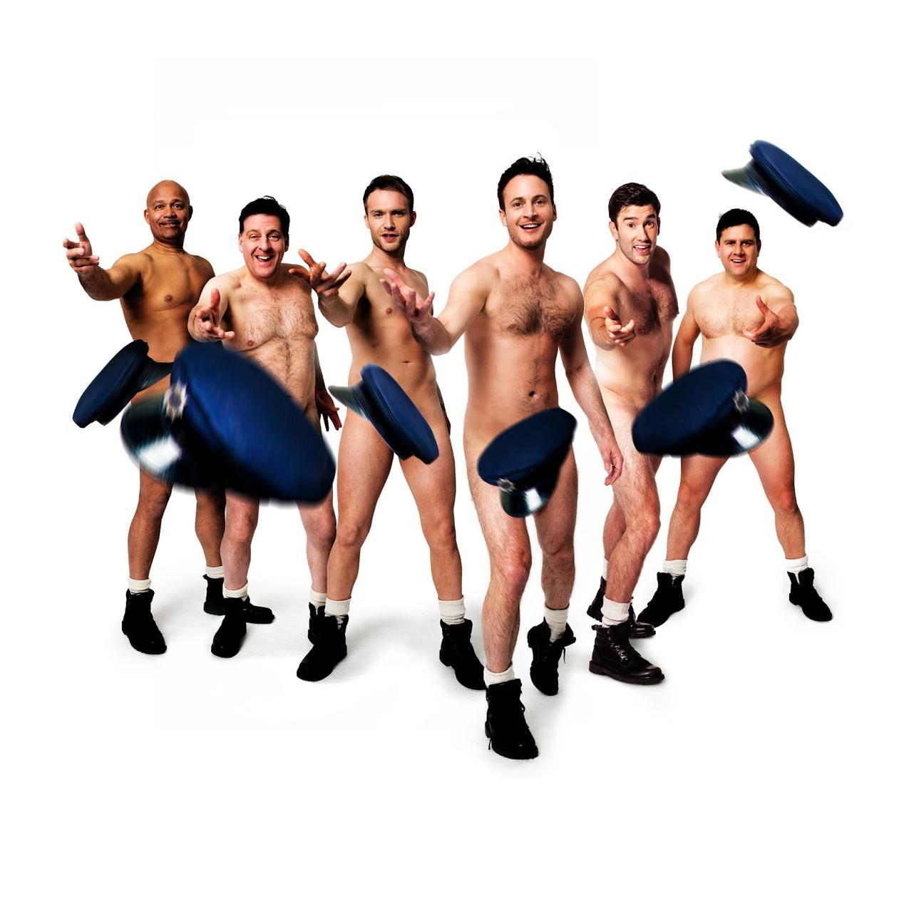 Louis Emerick, Andrew Dunn, Chris Fountain, Gary Lucy, Anthony Lewis, Kai Owen in THE FULL MONTY credit Matt Crockett