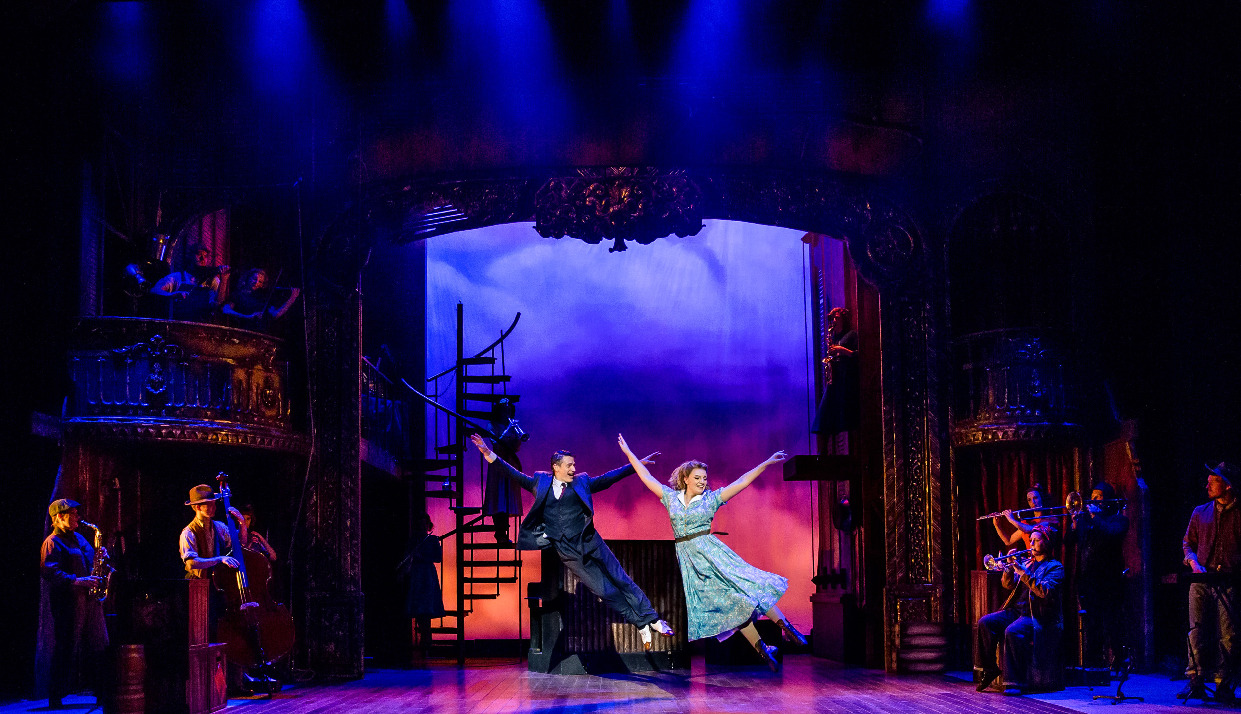6. CRAZY FOR YOU. Tom Chambers 'Bobby' and Charlotte Wakefield 'Polly' and Company. Photo Richard Davenport.