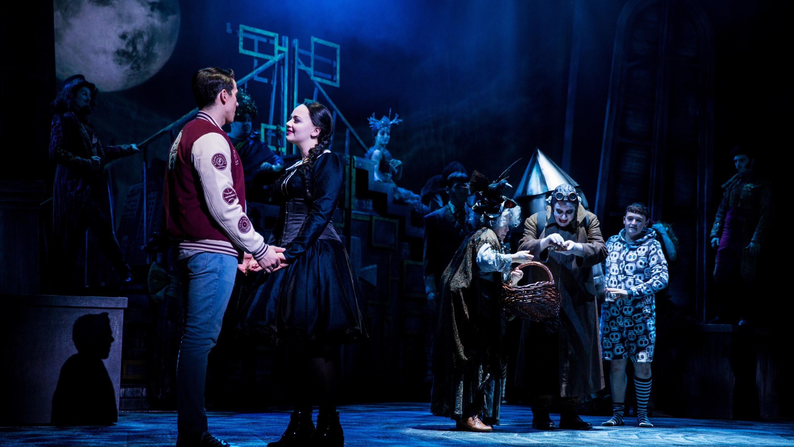 Oliver Ormson, Carrie Hope Fletcher, Valda Aviks, Les Dennis and Grant McIntyre in THE ADDAMS FAMILY. Credit Matt Martin