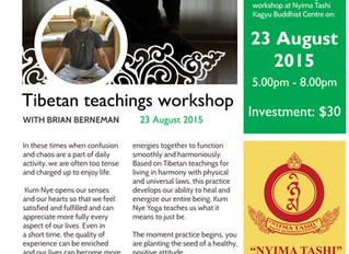 Tibetan teachings workshop August 23rd at Nyima Tashi