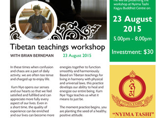 Tibetan teachings workshop August 23rd at Nyima Tashi