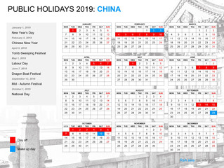 China official public holidays 2019