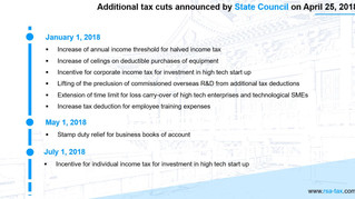 China: additional tax cuts package to be delivered in 2018