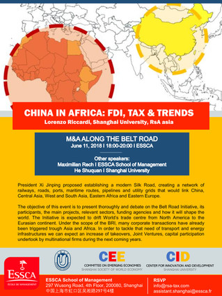 China in Africa: FDI, Tax and Trends - June 11th at ESSCA
