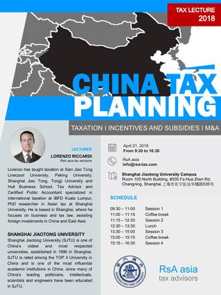 China Tax Planning - April 21st at SJTU