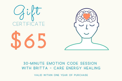 30-Minute Emotion Code Gift Certificate