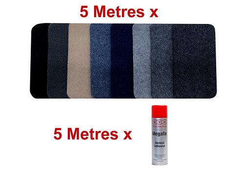 5m Mega Stretch Lining Carpet and 5 x Adhesive Package