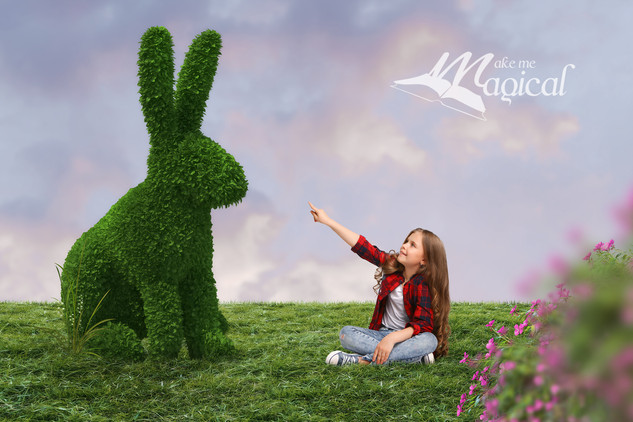 topiary rabbit backdrop by makememagical
