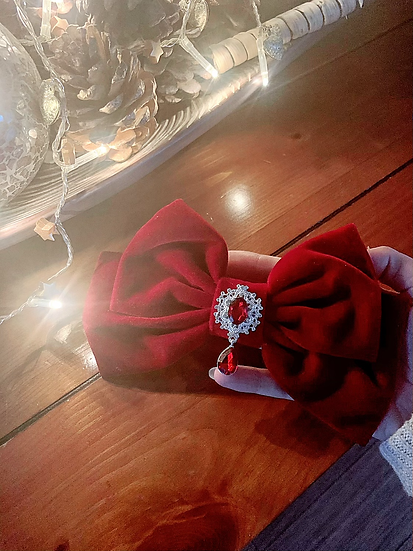 Large Red Velvet Bow with Crystal