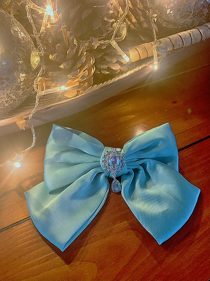 Large Satin Aqua Bow with Crystal
